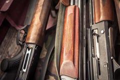 Hunting guns during duck hunting season royalty free stock image