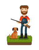 Hunting. Happy hunter standing with a gun in his hands. Cartoon vector illustration Royalty Free Stock Photo