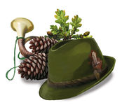 Hunting hat, cone, pipe and oak leaves Royalty Free Stock Image