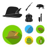 A hunting hat with a feather, a wild boar, a rifle, a backpack with things.Hunting set collection icons in black, flat. A hunting hat with a feather, a wild boar Royalty Free Stock Images