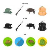 A hunting hat with a feather, a wild boar, a rifle, a backpack with things.Hunting set collection icons in cartoon,black. A hunting hat with a feather, a wild Royalty Free Stock Photography
