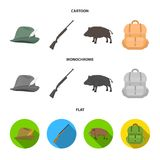 A hunting hat with a feather, a wild boar, a rifle, a backpack with things.Hunting set collection icons in cartoon,flat. A hunting hat with a feather, a wild Royalty Free Stock Image