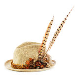 Hunting hat with pheasant feathers isolated on white. Stock Photos