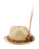Hunting hat with pheasant feathers isolated on white. Royalty Free Stock Image