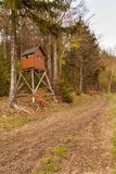 Hunting hide in the forest. Hunting stash. The wooden tower. Stock Images