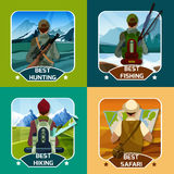 Hunting Hking 4 flat Icons Square Royalty Free Stock Photo