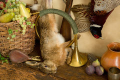 Hunting horn and hare Royalty Free Stock Photos