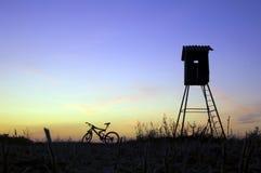 Hunting hut silhouette stock photos
