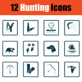 Hunting icon set Stock Photography