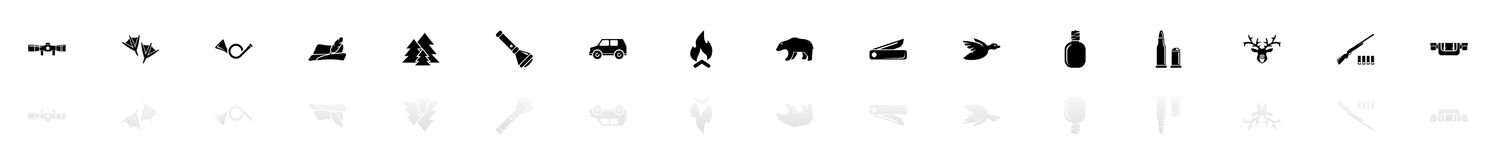 Hunting - Flat Vector Icons. Hunting icons - Black horizontal Illustration symbol on White Background with a mirror Shadow reflection. Flat Vector Icon Stock Photos