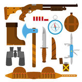 Hunting icons flat set with knife, axe, shotgun, case, lighter, Stock Photos