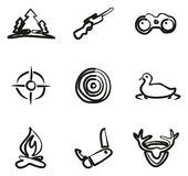 Hunting Icons Freehand. This image is a illustration and can be scaled to any size without loss of resolution Royalty Free Stock Photos