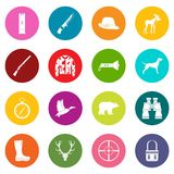 Hunting icons many colors set Royalty Free Stock Photos
