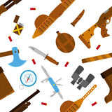 Hunting icons pattern with knife, axe, shotgun in flat style. Royalty Free Stock Photo