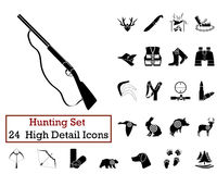 24 Hunting Icons. Set of 24 Hunting Icons in Black Color Stock Photos