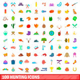 100 hunting icons set, cartoon style. 100 hunting icons set in cartoon style for any design illustration Stock Photography