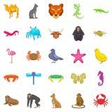 Hunting icons set, cartoon style. Hunting icons set. Cartoon set of 25 hunting vector icons for web isolated on white background Royalty Free Stock Photos