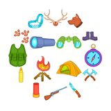 Hunting icons set, cartoon style. Hunting icons set in cartoon style. Hunters equipment set collection vector illustration Royalty Free Stock Photo