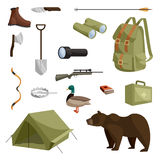 Hunting icons set, cartoon style Stock Image