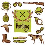 Hunting Icons Set Stock Images