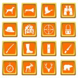 Hunting icons set orange. Hunting icons set in orange color isolated vector illustration for web and any design Stock Images