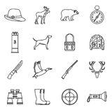 Hunting icons set, outline style Royalty Free Stock Images