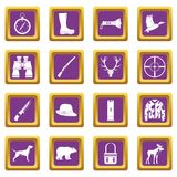 Hunting icons set purple. Hunting icons set in purple color isolated vector illustration for web and any design Stock Image