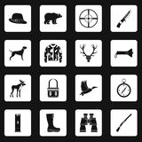 Hunting icons set squares vector Stock Photography
