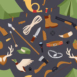 Hunting icons vector seamless pattern isolated background.  Royalty Free Stock Images