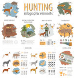 Hunting infographic template. Dog hunting, equipment, statistica Royalty Free Stock Image