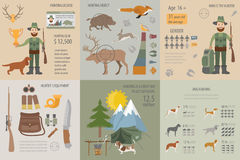 Hunting infographic template. Dog hunting, equipment, statistica Stock Images