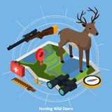Hunting Isometric Concept. Colored hunting isometric concept with deer at the center on map on blue background vector illustration Stock Image