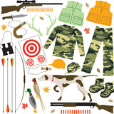 Hunting Items. Illustration of items use on hunting trips Stock Photo