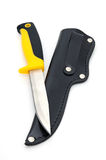 Hunting knife. A hunting knife with a sheath on a white background Stock Photo