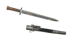 Hunting knife of 18th century cutout royalty free stock photography