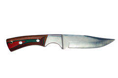 Hunting knife. With wooden handle, isolated on white Stock Photos
