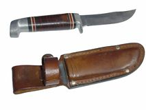 Hunting Knife. And scabbard Stock Images