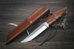 Hunting knife handmade Stock Photos