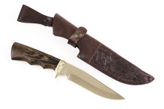 Hunting knife and leather case Royalty Free Stock Images