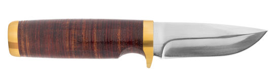 Hunting knife with leather handle Stock Image