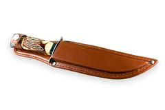 Hunting Knife In Leather Sheath Stock Images