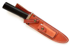 Hunting knife in leather sheath Stock Photography