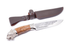 Hunting knife and sheath isolated Royalty Free Stock Photos