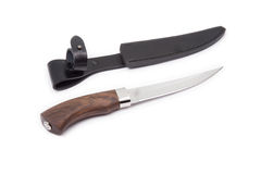 Hunting knife and sheath isolated Stock Images