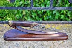 Hunting knife steel, Capricorn royalty free stock photos
