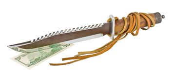 Hunting knife with teeth cut fifty dollars Royalty Free Stock Images