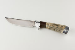 Hunting knife on white background. Hunting knife with bone handle  on white background Stock Photo