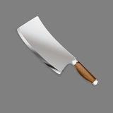 Hunting knife with wooden handle in a realistic style for use  Stock Image