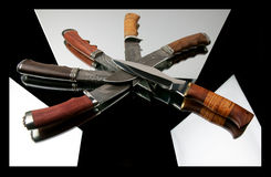 The hunting knifes Stock Photos