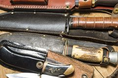 Hunting knives with scabbards Royalty Free Stock Photography